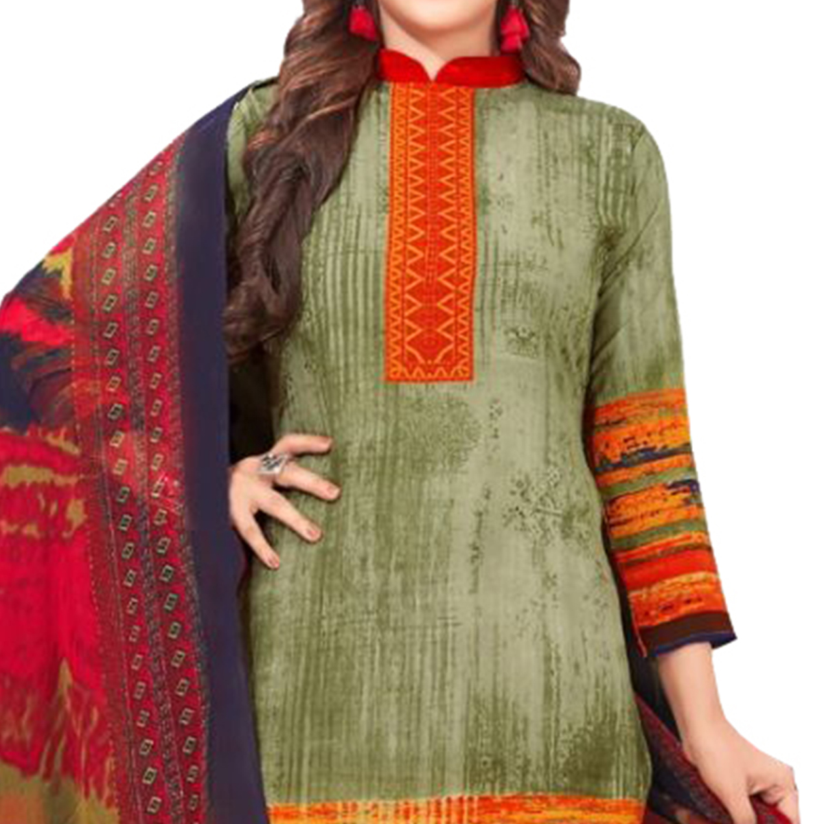 Breathtaking Green Colored Casual Wear Printed Cotton Dress Material