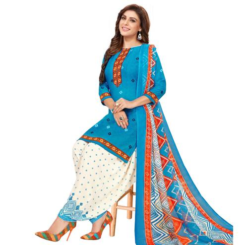Ethnic Blue Colored Casual Wear Printed Cotton Dress Material