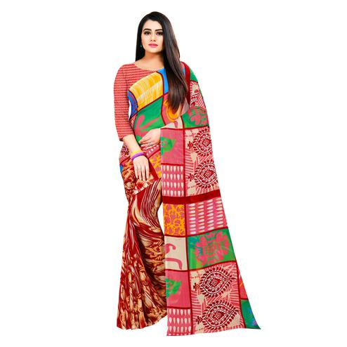 Blooming Multi Colored Casual Wear Printed Georgette Saree