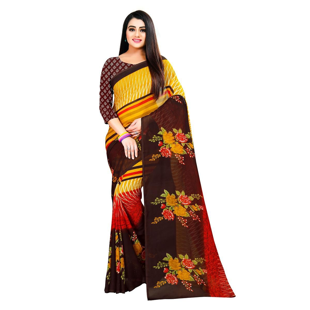 Jazzy Yellow-Brown Colored Casual Wear Printed Georgette Saree