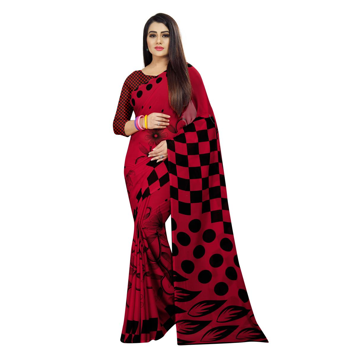 Delightful Red Colored Casual Wear Printed Georgette Saree