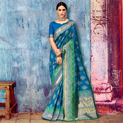 Royal Blue Festive Woven Silk Saree