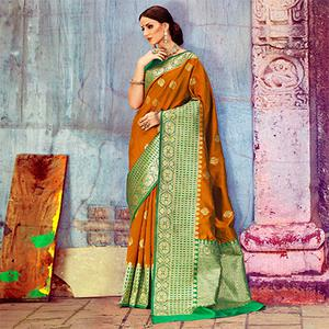 Mustard Yellow Festive Woven Silk Saree