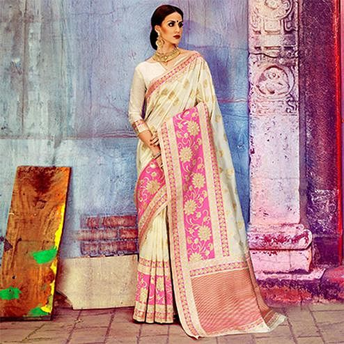 Elegant Cream Festive Woven Silk Saree