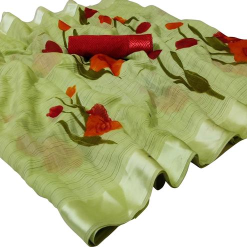 Elegant Green Colored Casual Wear Printed Linen Saree