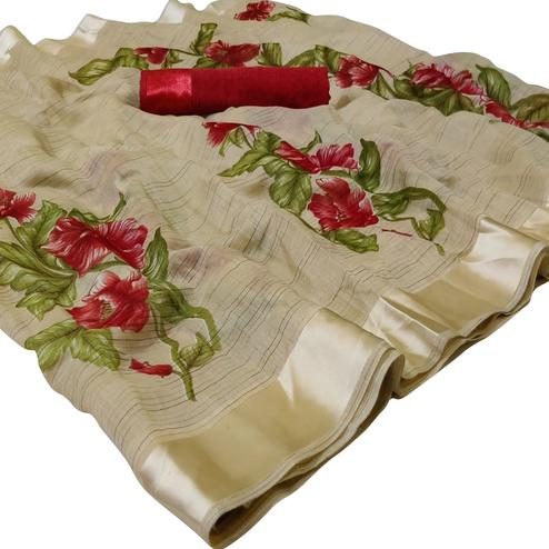 Radiant Light Beige Colored Casual Wear Printed Linen Saree