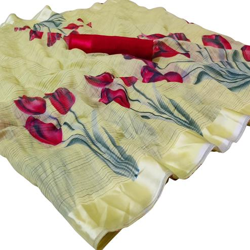 Opulent Pastel Yellow Colored Casual Wear Printed Linen Saree