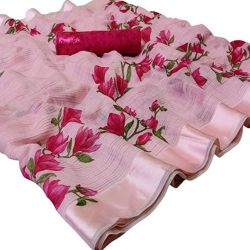 Gleaming Pink Colored Casual Wear Printed Linen Saree