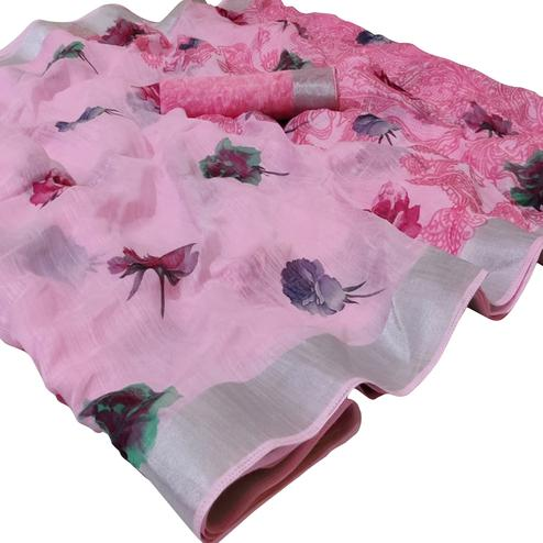 Mesmeric Pink Colored Casual Wear Printed Linen Saree