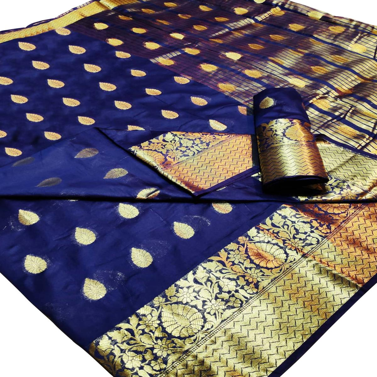 Refreshing Navy Blue Colored Festive Wear Woven Linen Saree