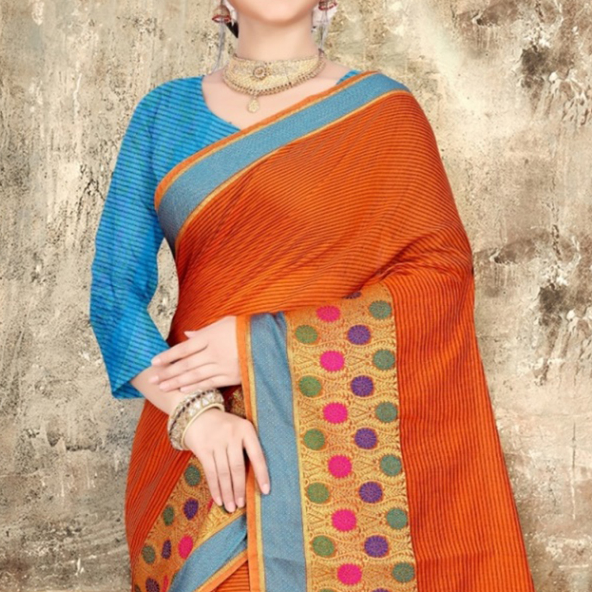 Amazing Orange Colored Festive Wear Printed Cotton Saree