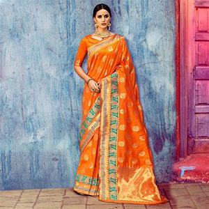Mesmerising Orange Festive Woven Silk Saree