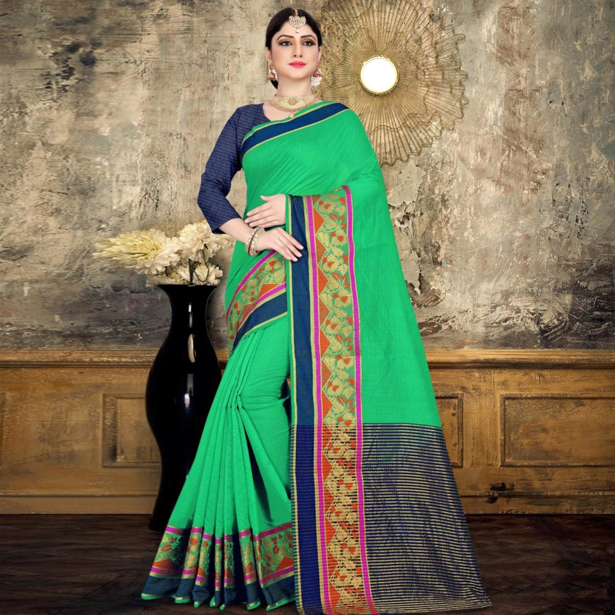 Imposing Green Colored Festive Wear Printed Cotton Saree