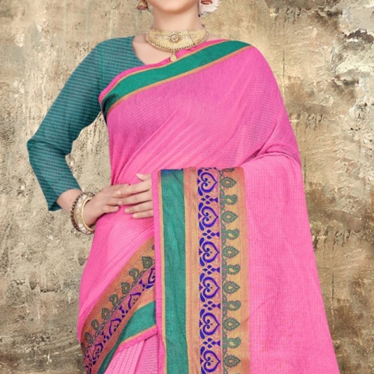 Lovely Light Pink Colored Festive Wear Printed Cotton Saree