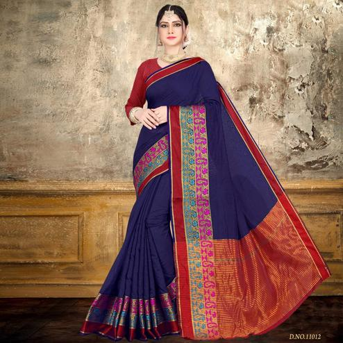 Breathtaking Navy Blue Colored Festive Wear Printed Cotton Saree