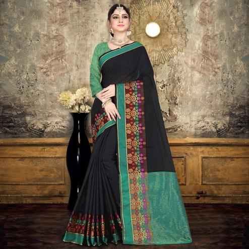 Ravishing Black Colored Festive Wear Printed Cotton Saree