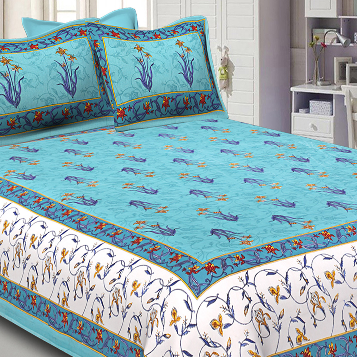 Sea Green-Cream Colored Small Mughal Print Cotton Double Bed Sheet With 2 Pillow Cover