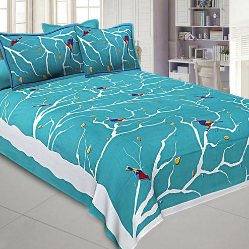 Rama Green Colored Indian Sparrow Printed Cotton Double Bed Sheet With 2 Pillow Cover