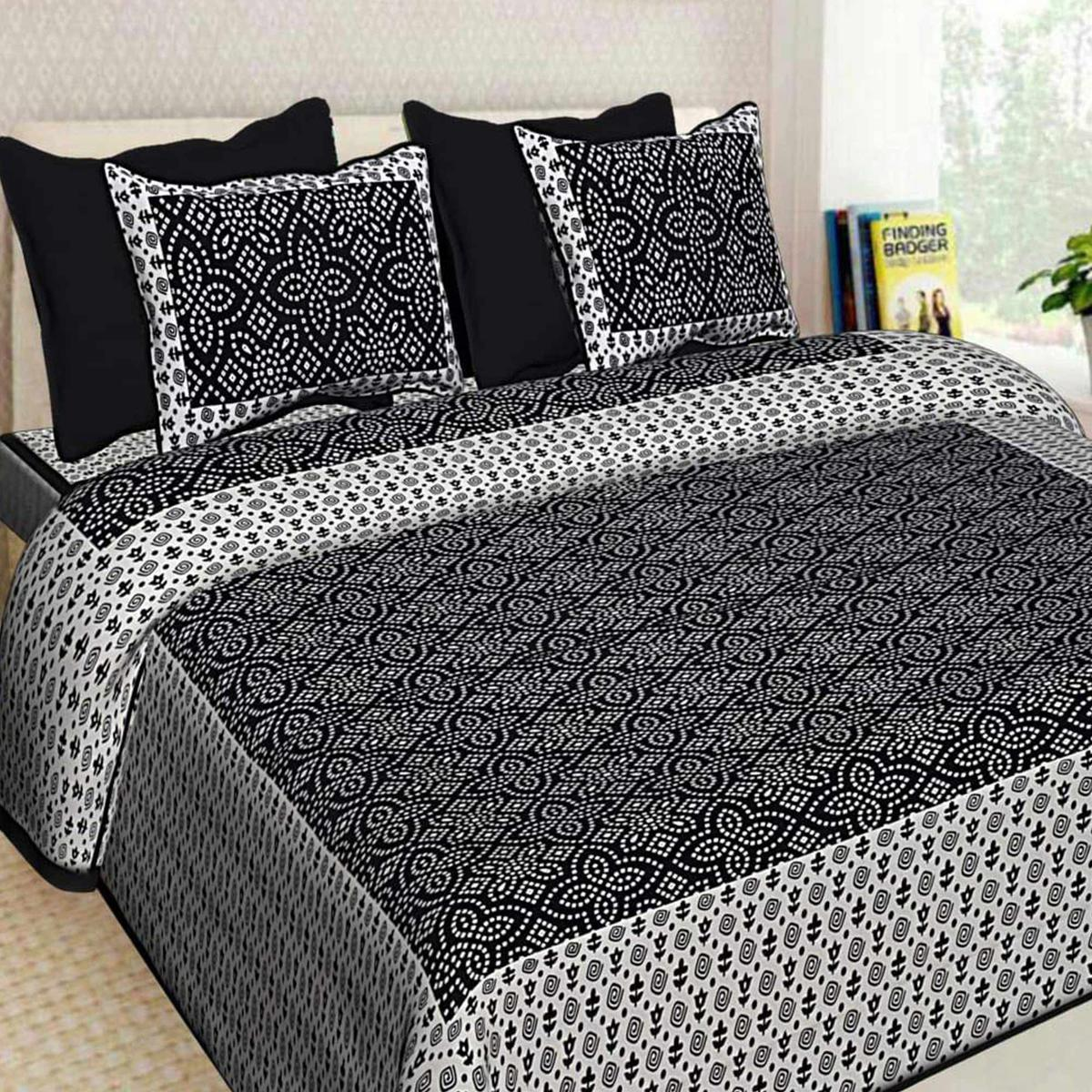 Black Colored Bandhej Pattern White Base  Screen Print Cotton Queen Sized Bed Sheet With 2 Pillow Cover