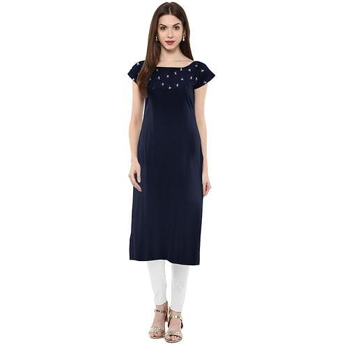 Ahalyaa - Women's Blue Colored Casual Wear Printed Crepe Kurti