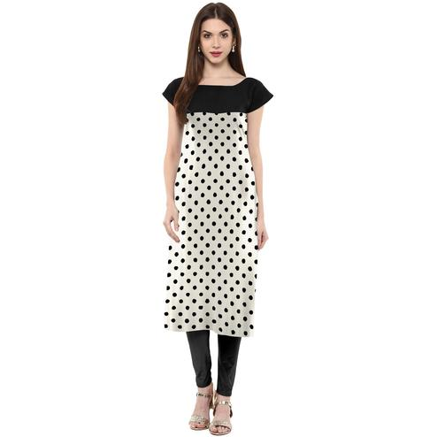 Ahalyaa - Women's White Colored Casual Wear Polka Dot Printed Crepe Kurti