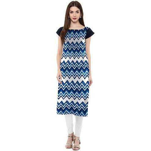 Ahalyaa - Women's Blue Colored Casual Wear Chevron Printed Crepe Kurti