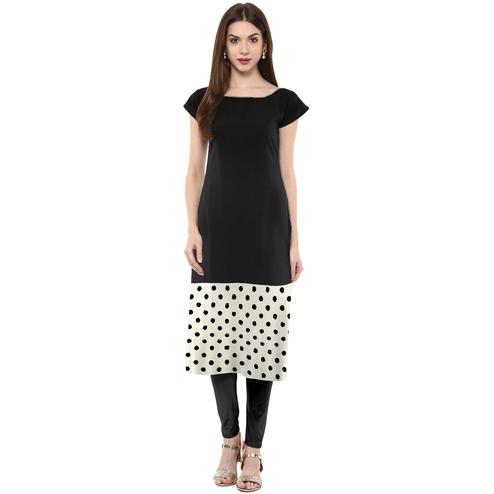 Ahalyaa - Women's Black Colored Casual Wear Polka Dot Printed Crepe Kurti