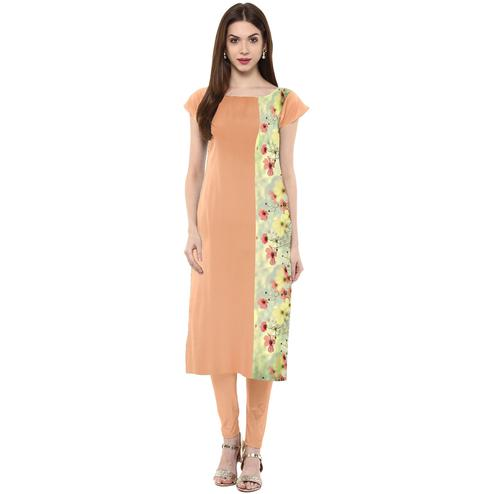 Ahalyaa - Women's Peach Colored Casual Wear Floral Printed Crepe Kurti