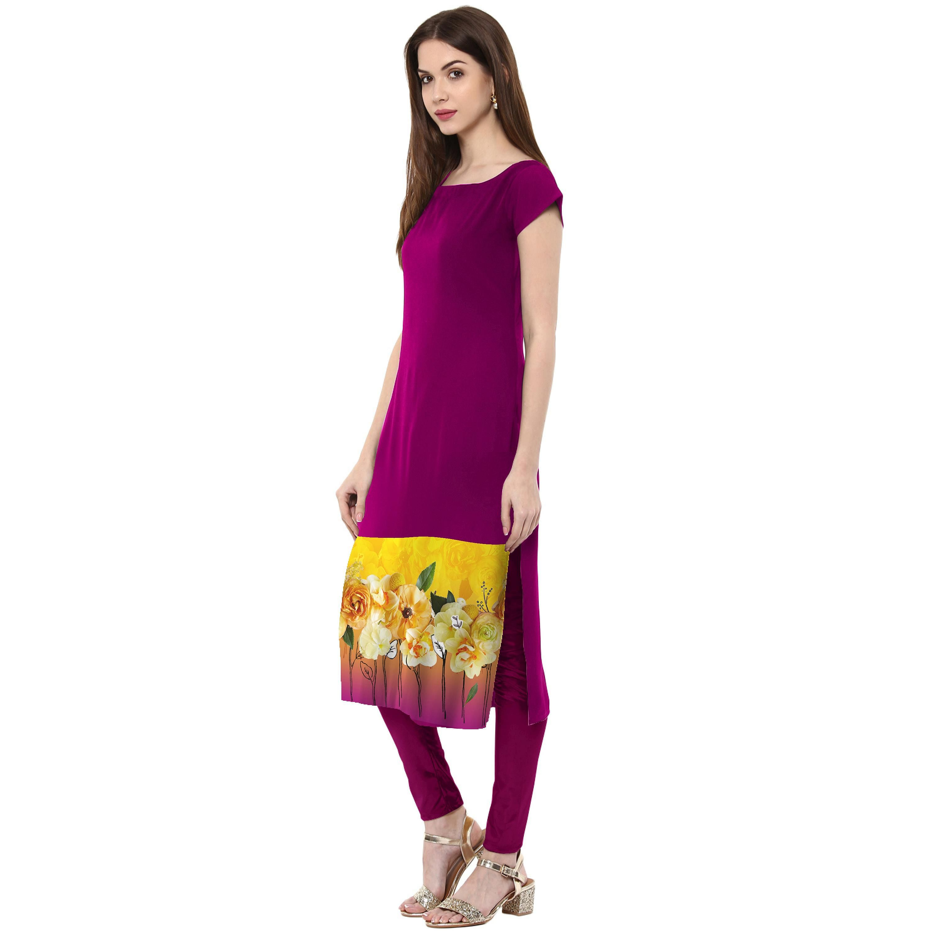 Ahalyaa - Women's Purple Colored Casual Wear Floral Printed Crepe Kurti