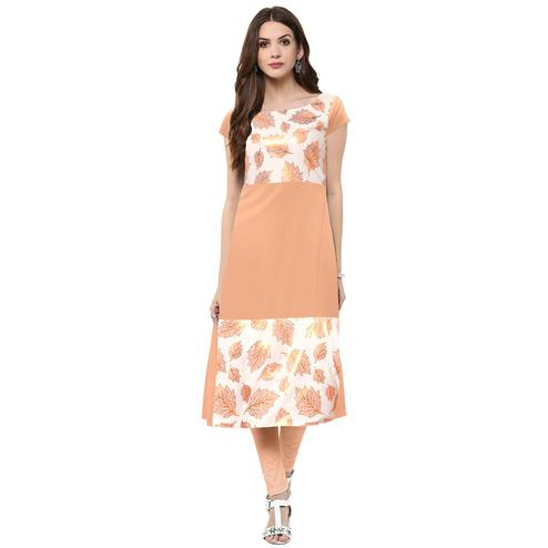 Ahalyaa - Women's Peach Colored Casual Wear Foil Printed Crepe Kurti