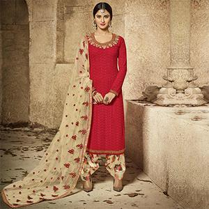 Eye-Catchy Red Designer Embroidered Semi Georgette Salwar Suit