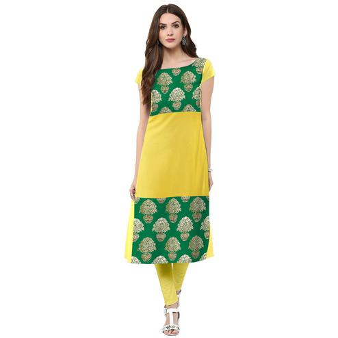 Ahalyaa - Women's Yellow Colored Casual Wear Foil Printed Crepe Kurti