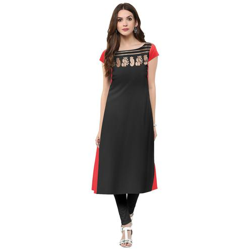 Ahalyaa - Women's Black Colored Casual Wear Foil Printed Crepe Kurti