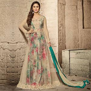 Marvelous Beige Designer Embroidered Net Anarkali Lehenga Suit