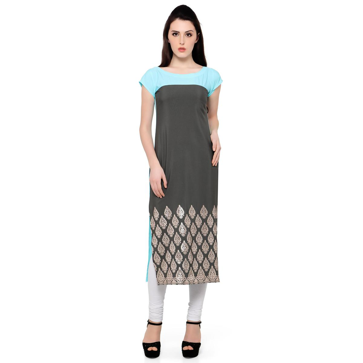 Ahalyaa - Women's Grey Colored Casual Wear Foil Printed Crepe Kurti