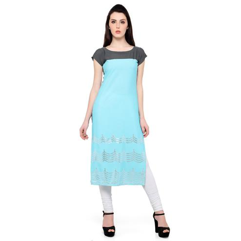 Ahalyaa - Women's Sky Blue Colored Casual Wear Foil Printed Crepe Kurti