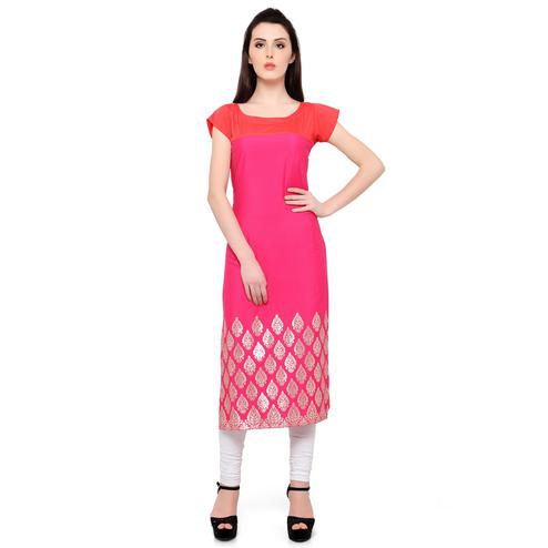 Ahalyaa - Women's Pink Colored Casual Wear Foil Printed Crepe Kurti