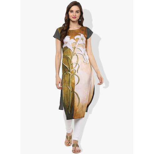 Ahalyaa - Women's Beige Grey Colored Casual Wear Floral Printed Crepe Kurti
