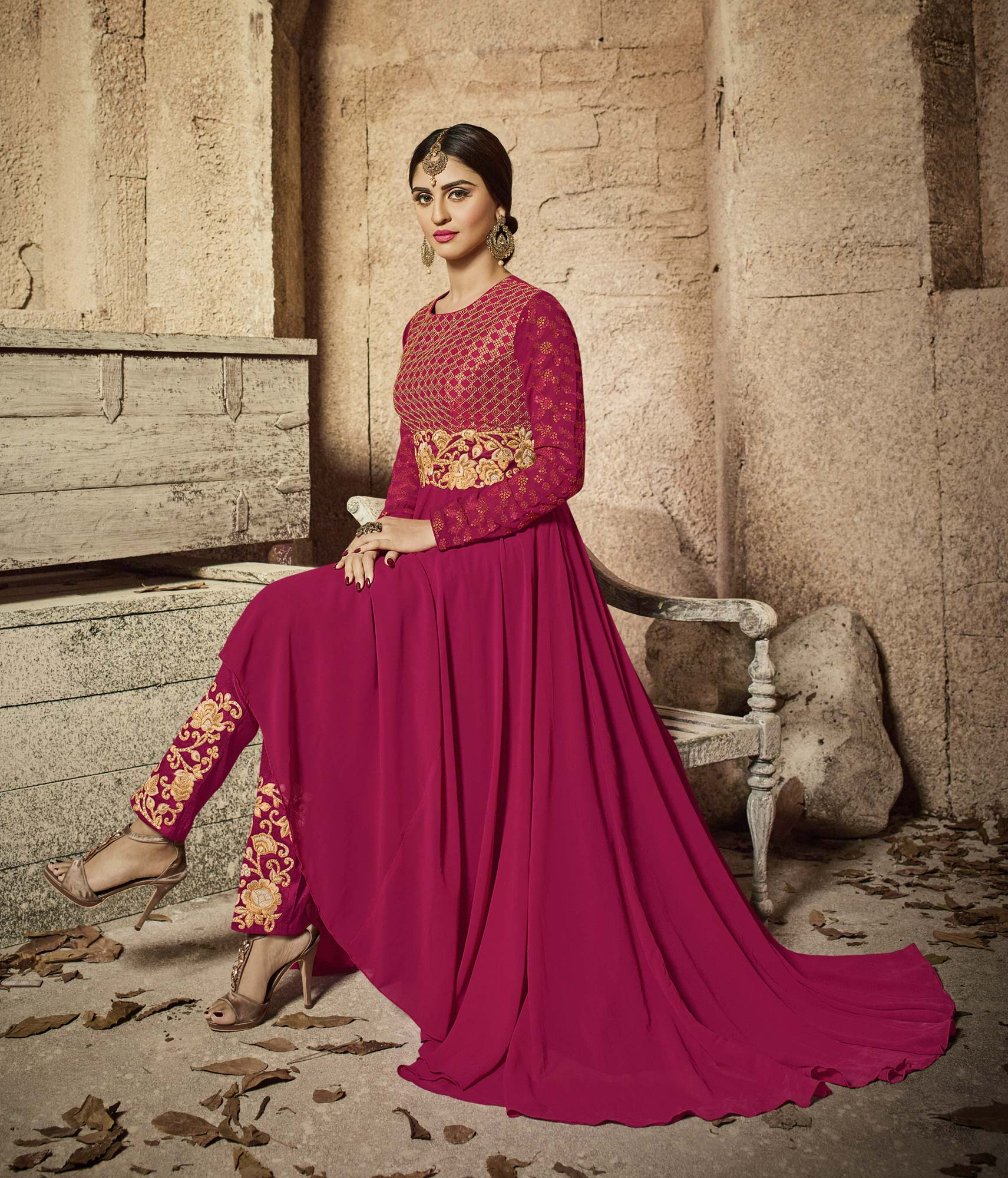 Sizzling Magenta Designer Embroidered Faux Georgette Anarkali Suit