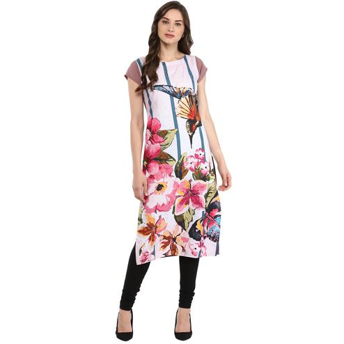 Ahalyaa - Women's Multi Colored Casual Wear Floral Birdie Printed Crepe Kurti