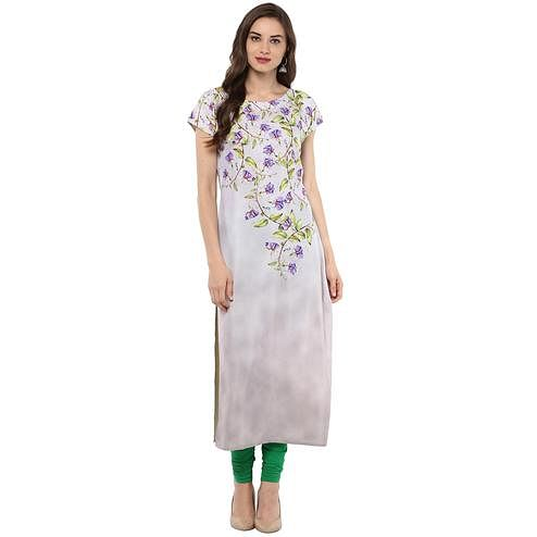 Ahalyaa - Women's Off White Colored Casual Wear Floral Printed Crepe Kurti