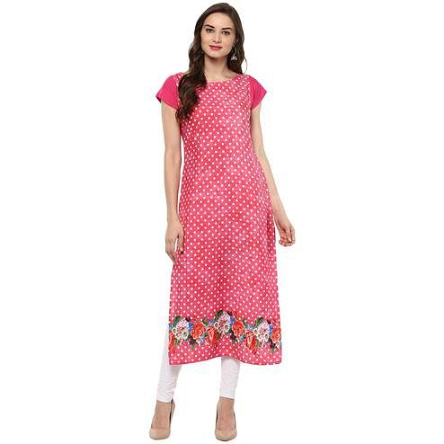 Ahalyaa - Women's Red Colored Casual Wear Polka Dot Printed Crepe Kurti