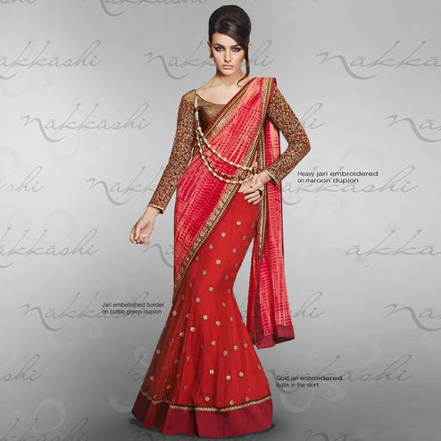 NAKKASHI - Energetic Red Colored Party Wear Embroidered Georgette-Net Lehenga Saree