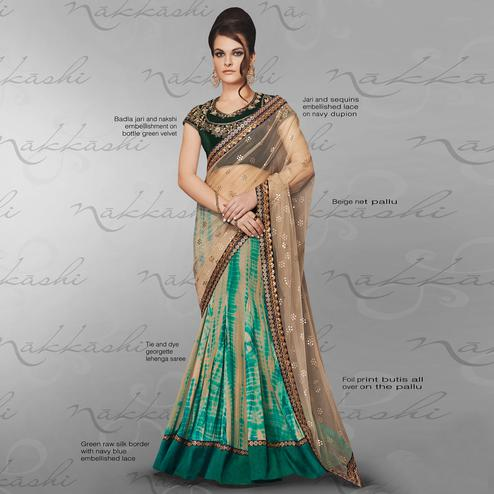 NAKKASHI - Glowing Green-Beige Colored Party Wear Embroidered Georgette-Net Lehenga Saree