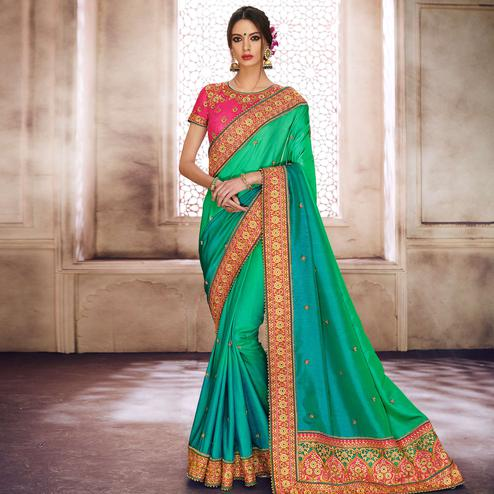 NAKKASHI - Prominent Green Colored Party Wear Embroidered Satin Silk Saree