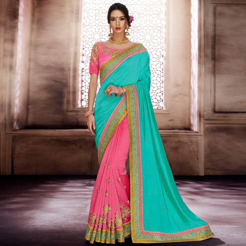 NAKKASHI - Capricious Turquoise-Pink Colored Party Wear Embroidered Satin Silk-Handloom Silk Saree