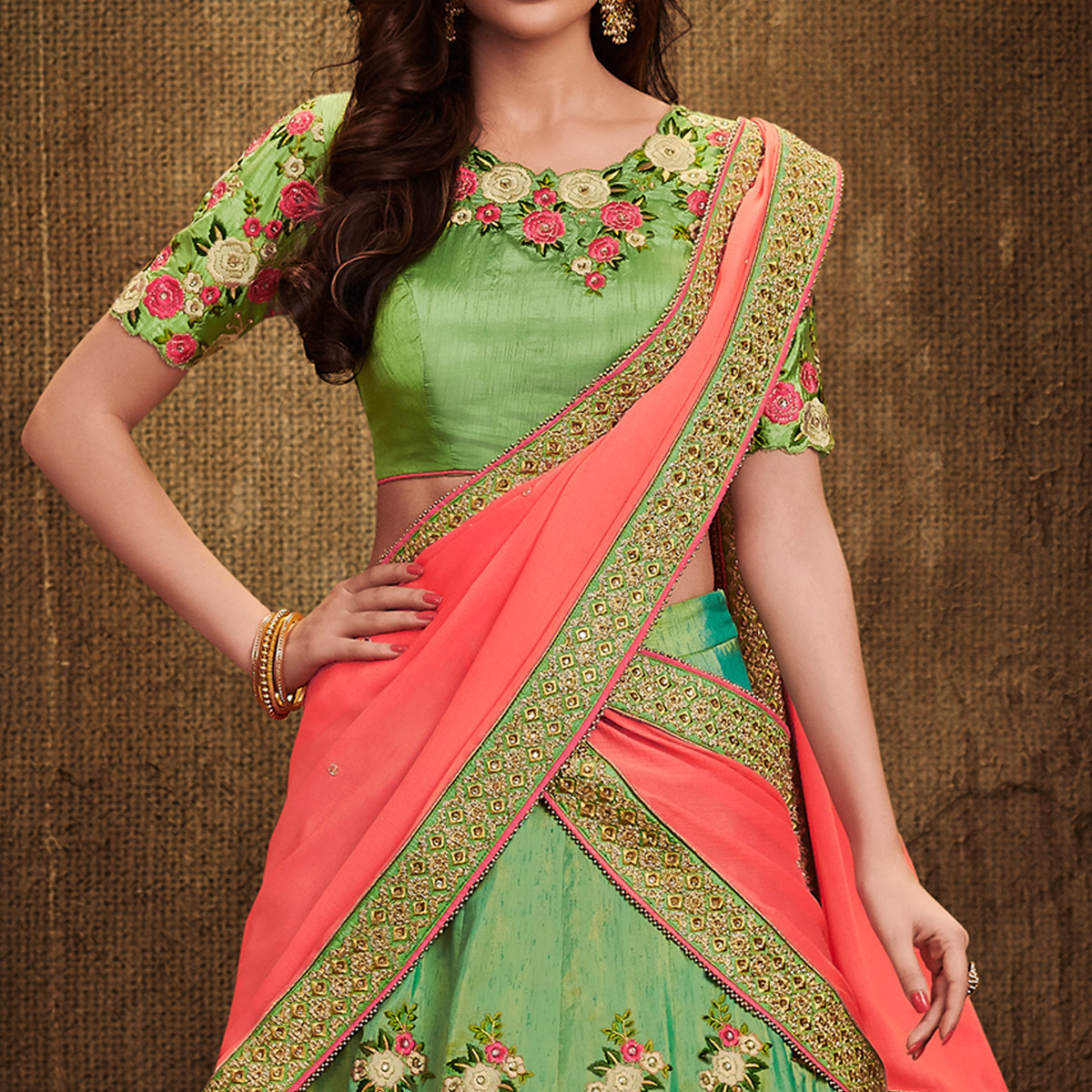 NAKKASHI - Jazzy Green Colored Party Wear Embroidered Handloom Raw Silk Lehenga Choli