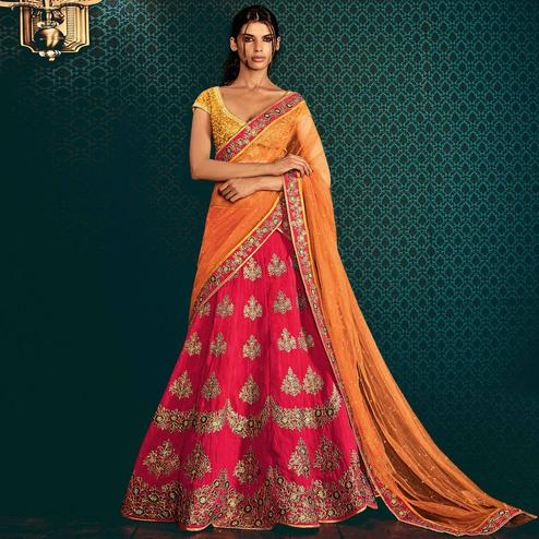 NAKKASHI - Blooming Pink Colored Party Wear Embroidered Tussar Silk Lehenga Choli