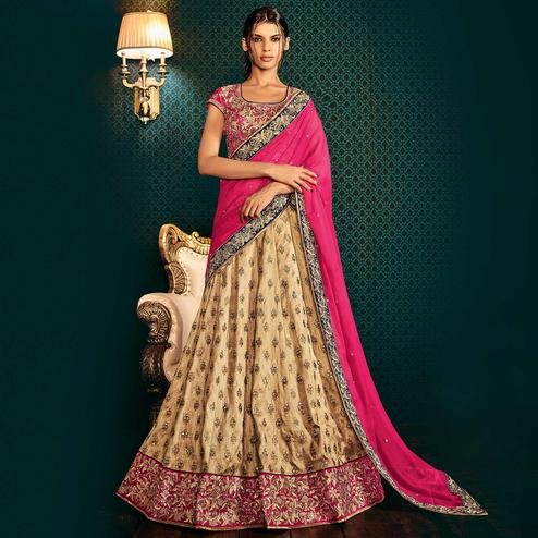 NAKKASHI - Captivating Beige Colored Party Wear Embroidered Bhagalpuri Raw Silk Lehenga Choli