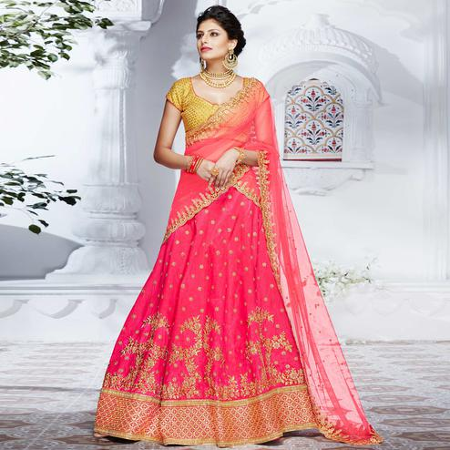 NAKKASHI - Flattering Pink Colored Party Wear Embroidered Handloom Raw Silk Lehenga Choli